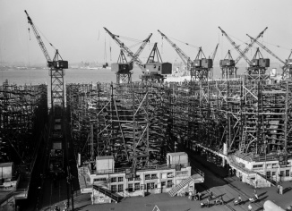 Baltimore, Maryland. Way no. 8 of the Bethlehem-Fairfield shipyards, showing the Liberty ship Frederick Douglass in its early stage of construction