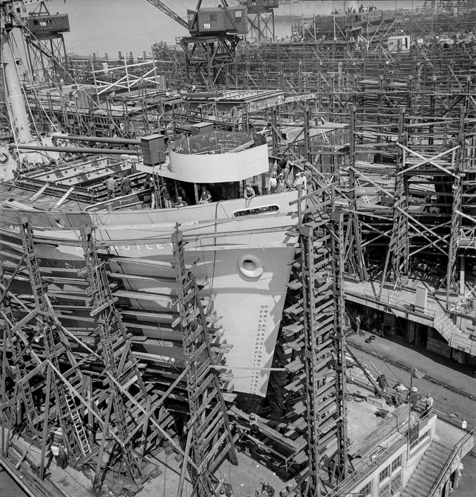 Bethlehem-Fairfield shipyards, Baltimore, Maryland. Forward section of a nearly completed ship