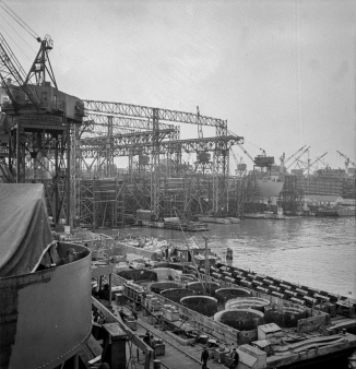 Bethlehem-Fairfield shipyards, Baltimore, Maryland. Looking aft on deck from a Liberty ship