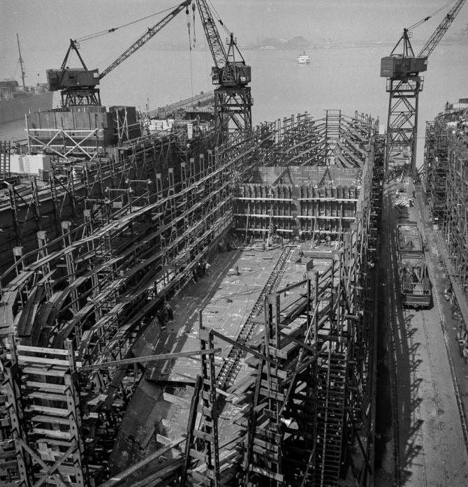 Bethlehem-Fairfield shipyards, Baltimore, Maryland. Ship construction in its early stage