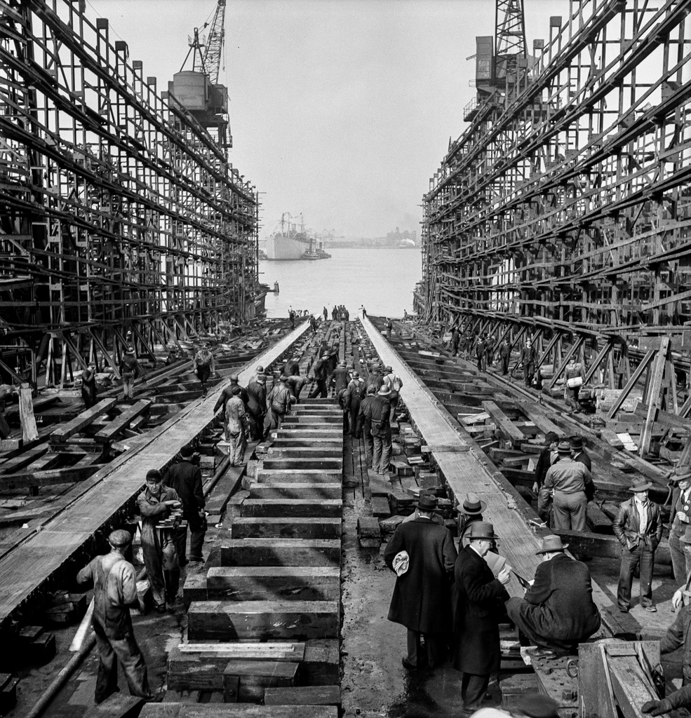 Bethlehem-Fairfield shipyards, Baltimore, Maryland. The stem of a vessel just after the launching ceremony