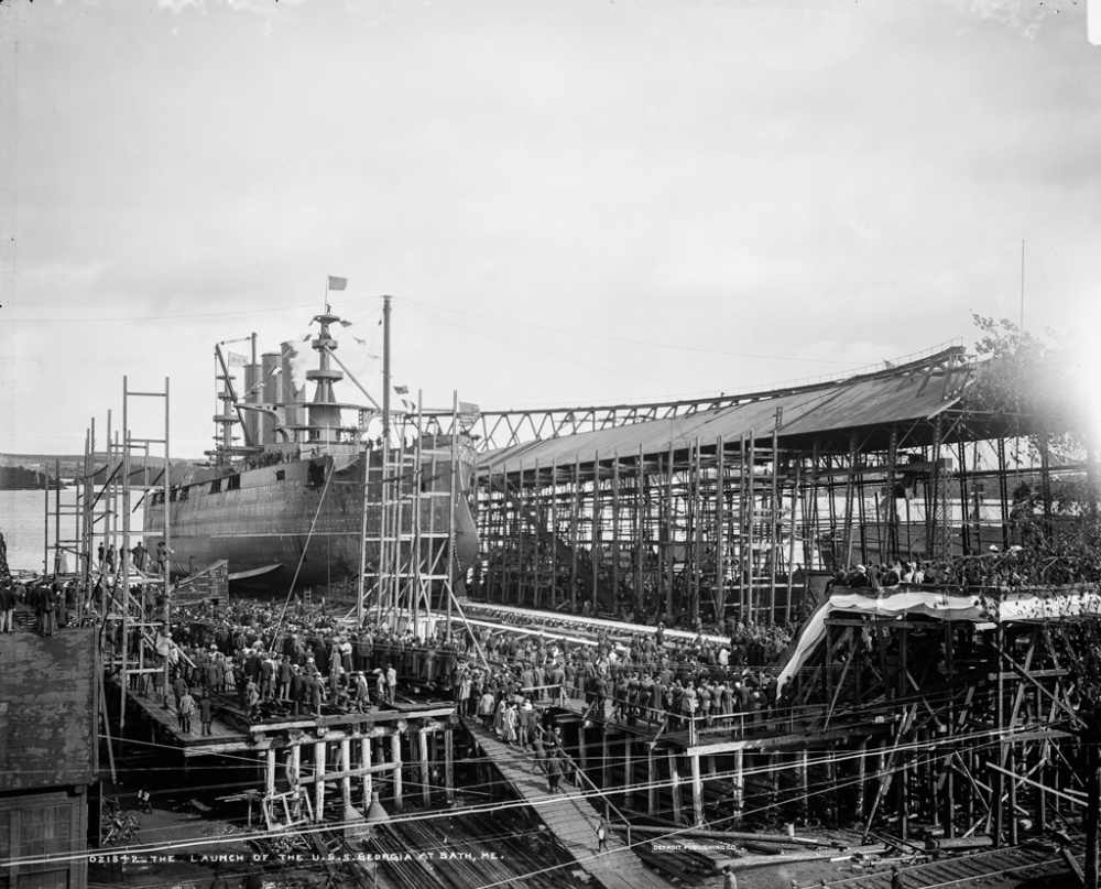 The Launch of the U.S.S. Georgia at Bath, Me