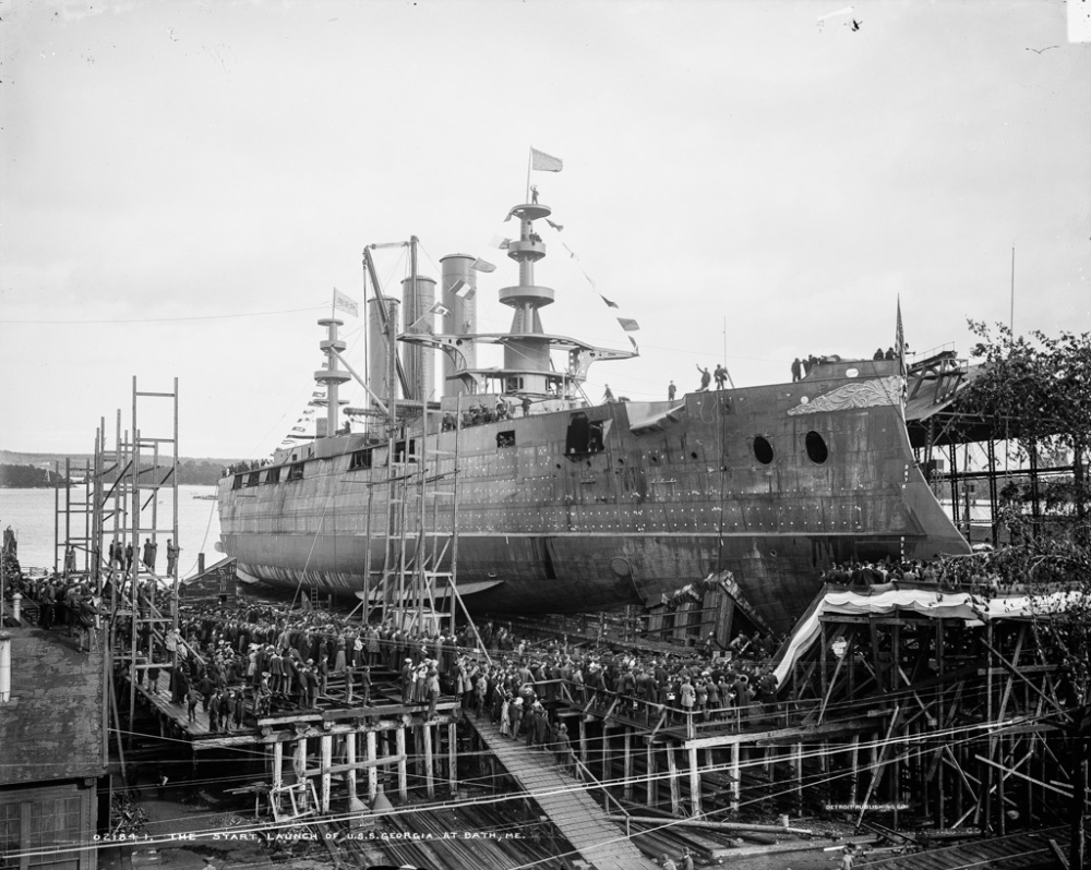 The Start, launch of U.S.S. Georgia at Bath, Me