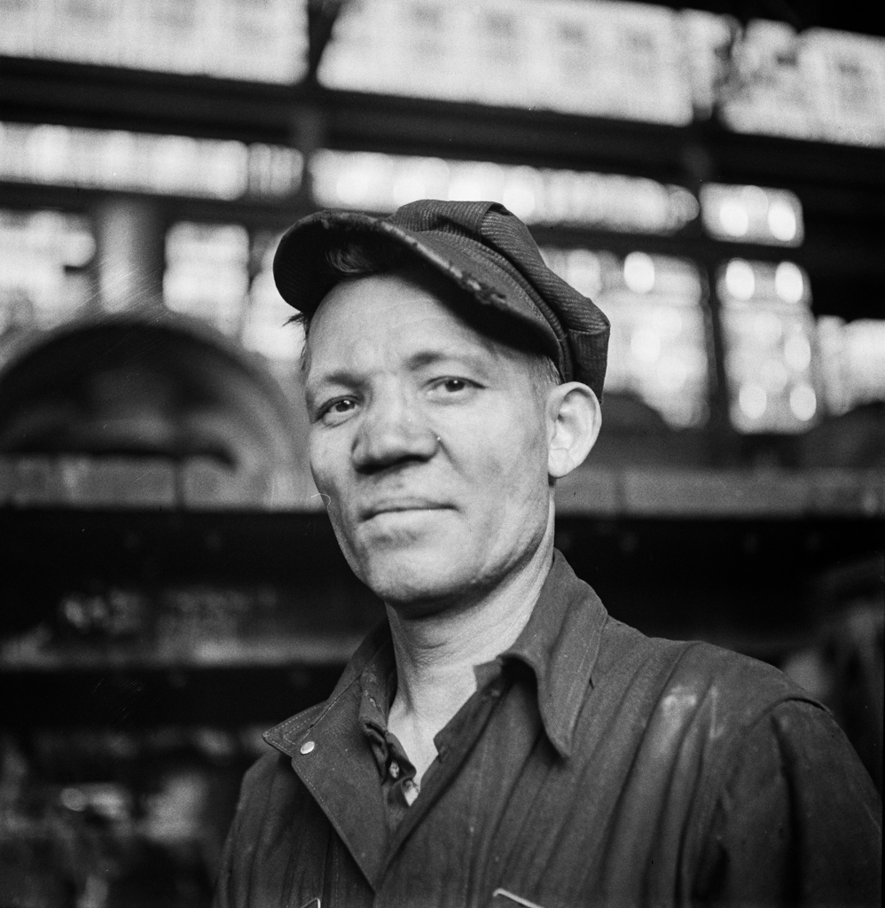 Chicago, Illinois. A welder at the Chicago and Northwestern Railroad repair shops 2