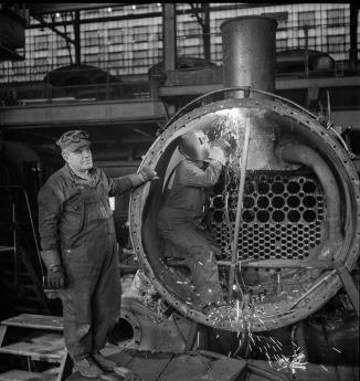 Chicago, Illinois. Working on a locomotive at the Chicago and Northwestern Railroad shops 3