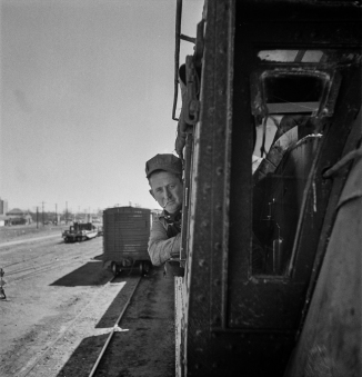 Clovis, New Mexico. D.L. Clark, engineer, ready to start his locomotive out of the Atchison, Topeka and Santa Fe Railroad yard