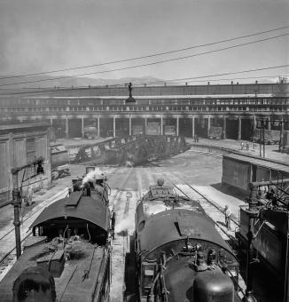 San Bernardino, California. Engines at the roundhouse