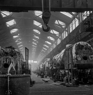 Topeka, Kansas. A general view of part of the Atchison, Topeka, and Santa Fe Railroad locomotive shops