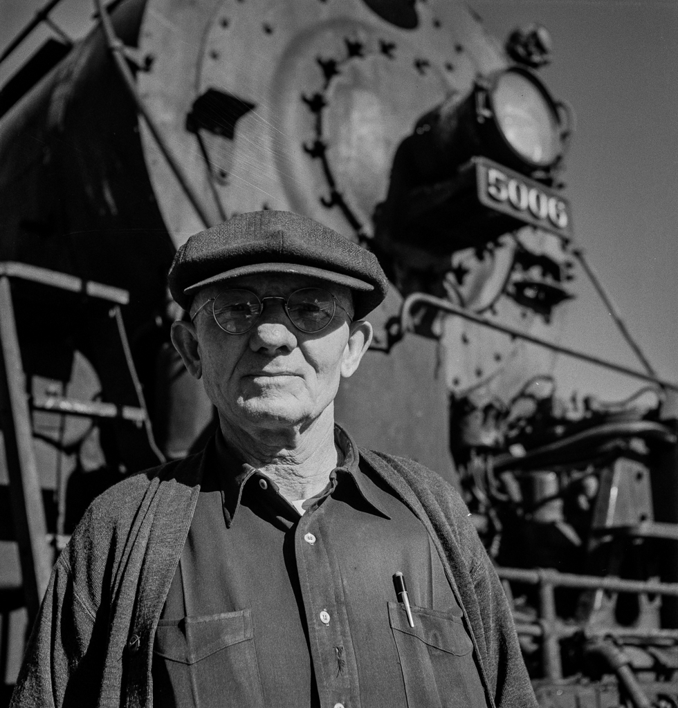 Vaughn, New Mexico. Conductor Ennis O'Niell of Clovis, New Mexico, who was about to leave on the return trip