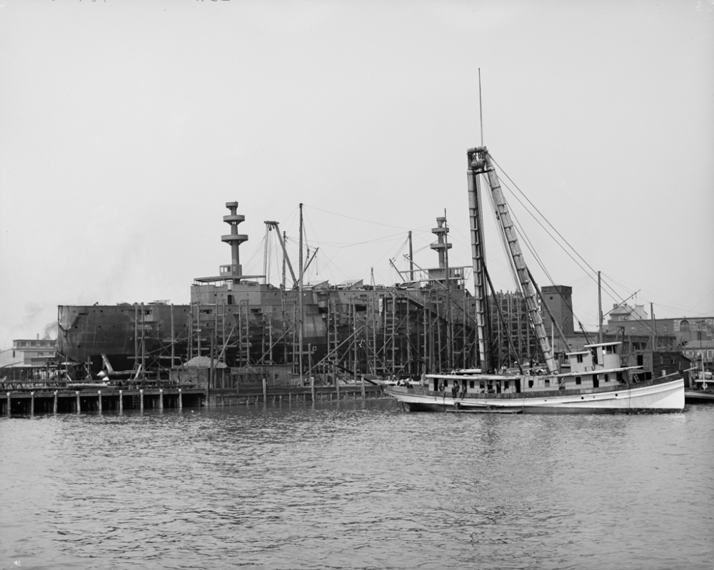 Building a warship, Cramp's shipyard, Philadelphia, Pa
