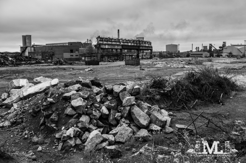 The former heavy section mill, now rubble. It was disused and derelict at the time of my last visit, so demolition was probably overdue.